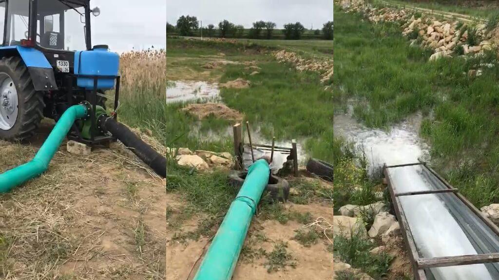 Насосная станция от вом трактора наполняет пруд 1га за 25 часов