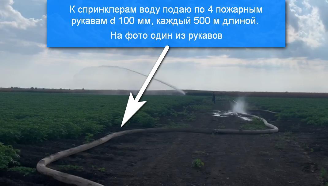 Воду к спринклерам подаю по пожарным шлангам d 100 мм